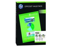 HP 935XL - 3 - geel, cyaan, magenta - origineel - printcartridge / papierpakket (F6U78AE)