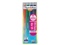 Stylo roller Papermate Inkjoy gel rétractable pointe 1 mm – écriture large - Pochette de 4 couleurs classiques