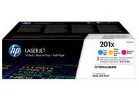 HP 201X, pack 3 toners hoge capaciteit kleuren
