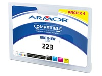 Pack inktpatroon Armor voor inkjetprinters, kleur, compatibel met Brother LC223