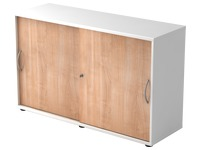 Witte kast, notelaar deuren H 74,8 x B 120 x D 40 cm
