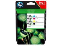 HP 953XL pack 4 cartridges high capacity: 1 black + 3 colors for inkjet printer