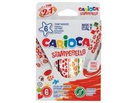 Carioca feutre tampon Stamperello, boîte de 6 pièces en couleurs assorties