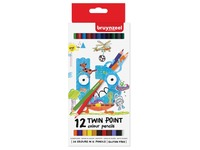 Crayon de couleur Bruynzeel Kids Twin Point blister de 12 pièces assorti