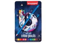 Crayon de couleur Bruynzeel Teens Soft boîte bleue 12 pièces assorti